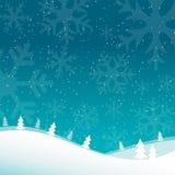 2018 Vrolijke Kerstmis en Gelukkige de kaartachtergrond van de Nieuwjaargroet met sneeuwvlokken Vlakke het landschapsachtergrond  Royalty-vrije Stock Foto's