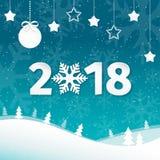 2018 Vrolijke Kerstmis en Gelukkige de kaartachtergrond van de Nieuwjaargroet met sneeuwvlokken Vlakke het landschapsachtergrond  Stock Afbeelding