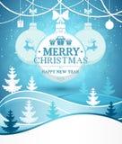 Vrolijke Kerstmis en Gelukkige de kaartachtergrond van de Nieuwjaargroet op de winterlandschap met sneeuwvalvector stock illustratie