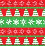 Vrolijke Kerstmis en Gelukkige de vakantieachtergronden van de Nieuwjaarwinter Inzameling van naadloze patronen met rode en witte Stock Afbeeldingen