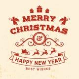 Vrolijke Kerstmis en Gelukkige die Nieuwjaarzegel, sticker met engelen, de Kerstman in ar met herten en Kerstmisgiften wordt gepl vector illustratie