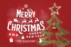 Vrolijke Kerstmis en Gelukkige die Nieuwjaarzegel, sticker met engelen, de Kerstman in ar met herten en Kerstmisgiften wordt gepl royalty-vrije illustratie