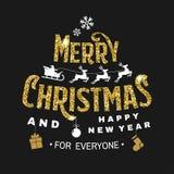 Vrolijke Kerstmis en Gelukkige die Nieuwjaarzegel, sticker met engelen, de Kerstman in ar met herten en Kerstmisgiften wordt gepl stock illustratie