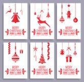 Vrolijke Kerstmis en Gelukkige Geplaatste Nieuwjaarprentbriefkaaren Royalty-vrije Stock Foto's