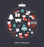 Vrolijke Kerstmis en gelukkige hanukkah Seizoengebonden voorwerpen royalty-vrije illustratie