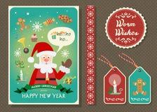Vrolijke Kerstmis en Gelukkige nieuwe de kaartreeks van de jaar vectorgroet Stock Afbeelding