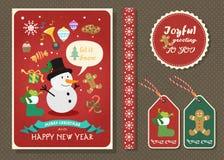 Vrolijke Kerstmis en Gelukkige nieuwe de kaartreeks van de jaar vectorgroet Stock Afbeeldingen