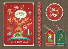 Vrolijke Kerstmis en Gelukkige nieuwe de kaartreeks van de jaar vectorgroet Stock Fotografie