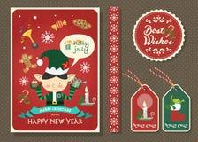 Vrolijke Kerstmis en Gelukkige nieuwe de kaartreeks van de jaar vectorgroet Royalty-vrije Stock Fotografie