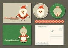 Vrolijke Kerstmis en Gelukkige nieuwe de kaartreeks van de jaargroet royalty-vrije stock afbeelding