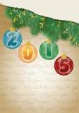 Vrolijke Kerstmis en Gelukkige Nieuwe het Jaarachtergrond van 2015 Stock Fotografie
