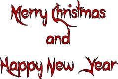 Vrolijke Kerstmis en Gelukkige nieuwe het tekenillustratie van de jaartekst vector illustratie
