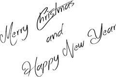Vrolijke Kerstmis en Gelukkige nieuwe het tekenillustratie van de jaartekst royalty-vrije illustratie
