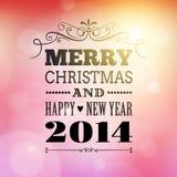 Vrolijke Kerstmis en gelukkige nieuwe jaar 2014 affiche Royalty-vrije Stock Fotografie