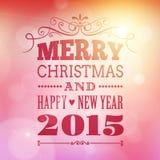 Vrolijke Kerstmis en gelukkige nieuwe jaar 2015 affiche Stock Fotografie