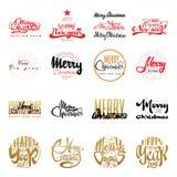 Vrolijke Kerstmis en gelukkige nieuwe jaar 2017 hand-van letters voorziende tekst Met de hand gemaakte vectorkalligrafie voor uw  Royalty-vrije Stock Foto's