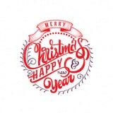 Vrolijke Kerstmis en gelukkige nieuwe jaar 2017 hand-van letters voorziende tekst Met de hand gemaakte vectorkalligrafie voor uw  Royalty-vrije Stock Afbeeldingen