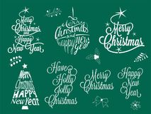 Vrolijke Kerstmis en gelukkige nieuwe jaar kalligrafische het van letters voorzien inzameling - vectorreeks Stock Foto's
