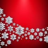 Vrolijke Kerstmis en Gelukkige nieuwe jaardocument sneeuwvlokken op rode achtergrond Eps 10 royalty-vrije illustratie