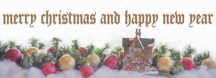Vrolijke Kerstmis en gelukkige nieuwe jaarkaart royalty-vrije stock afbeeldingen