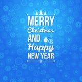 Vrolijke Kerstmis en Gelukkige nieuwe jaarkaart. Stock Afbeeldingen