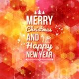 Vrolijke Kerstmis en Gelukkige nieuwe jaarkaart. Stock Foto