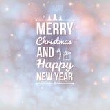 Vrolijke Kerstmis en Gelukkige nieuwe jaarkaart. Royalty-vrije Stock Foto's