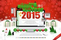 Vrolijke Kerstmis en gelukkige nieuwe jaarkaart vector illustratie