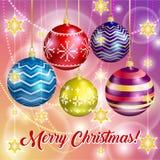Vrolijke Kerstmis en gelukkige nieuwe jaarkaart De decoratie van Kerstmis Kleurrijke Kerstmisballen royalty-vrije illustratie