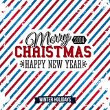 Vrolijke Kerstmis en Gelukkige nieuwe jaarkaart op een heldere gestreepte backg stock illustratie