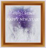 Vrolijke Kerstmis en gelukkige nieuwe jaarkaart Vakantie berijpt venster stock illustratie