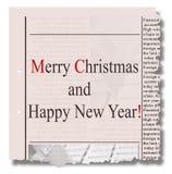 Vrolijke Kerstmis en gelukkige nieuwe jaarkrant Stock Afbeeldingen