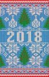 Vrolijke Kerstmis en Gelukkige Nieuwe 2018 Jaarvakantie gebreide banner vector illustratie