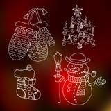 Vrolijke Kerstmis en gelukkige nieuwe van het het jaarbeeldverhaal van 2016 het overzichts vectorpictogrammen Stock Afbeeldingen