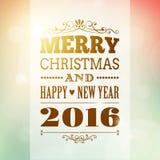 Vrolijke Kerstmis en Gelukkige Nieuwjaar 2016 achtergrond Stock Fotografie