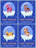 Vrolijke Kerstmis en Gelukkige Nieuwjaar Feestelijke Affiches vector illustratie