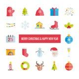 Vrolijke Kerstmis en Gelukkige Nieuwjaar geplaatste vector vlakke pictogrammen Stock Afbeelding