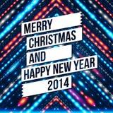 Vrolijke Kerstmis en Gelukkige Nieuwjaar 2014 kaart. Stock Foto's