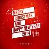 Vrolijke Kerstmis en Gelukkige Nieuwjaar 2014 kaart. Royalty-vrije Stock Fotografie