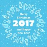 Vrolijke Kerstmis en Gelukkige Nieuwjaar 2017 kaart Royalty-vrije Stock Afbeeldingen