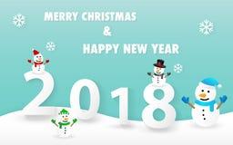 Vrolijke Kerstmis en Gelukkige Nieuwjaar 2018 kaart met leuke sneeuwmanvector Stock Foto's