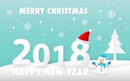 Vrolijke Kerstmis en Gelukkige Nieuwjaar 2018 kaart met leuke sneeuwmanvector Stock Afbeeldingen
