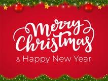 Vrolijke Kerstmis en Gelukkige Nieuwjaar typografische prentbriefkaar op rode Kerstmisachtergrond met feestelijke vakantieslinger stock illustratie