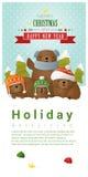 Vrolijke Kerstmis en Gelukkige Nieuwjaarachtergrond met beerfamilie royalty-vrije illustratie