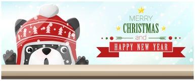 Vrolijke Kerstmis en Gelukkige Nieuwjaarachtergrond met Franse buldog die lege lijstbovenkant bekijken stock illustratie