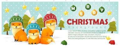 Vrolijke Kerstmis en Gelukkige Nieuwjaarachtergrond met vosfamilie stock illustratie