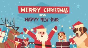 Vrolijke Kerstmis en Gelukkige Nieuwjaaraffiche met Santa And Dogs Wearing Red-Hoeden Stock Afbeeldingen