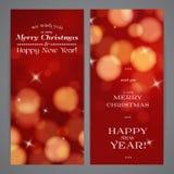 Vrolijke Kerstmis en Gelukkige Nieuwjaarflayers Stock Afbeeldingen