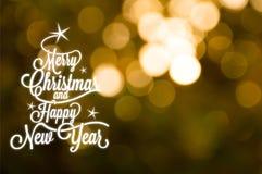 Vrolijke Kerstmis en Gelukkige Nieuwjaarprentbriefkaar Stock Foto's
