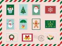 Vrolijke Kerstmis en Gelukkige Nieuwjaarprentbriefkaar met postzegel Vector illustratie Royalty-vrije Stock Afbeeldingen